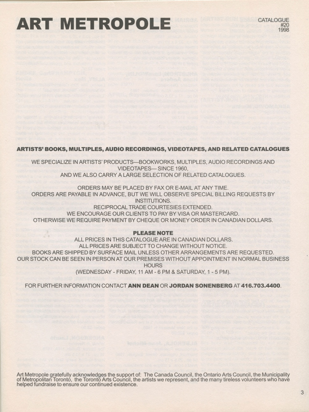 Art Metropole. Catalogue No. 20. 1998 (page)