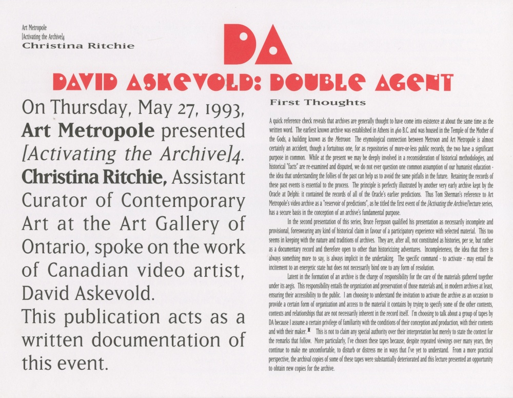 [Activating the Archive] 4:  David Askevold, Double Agent (front