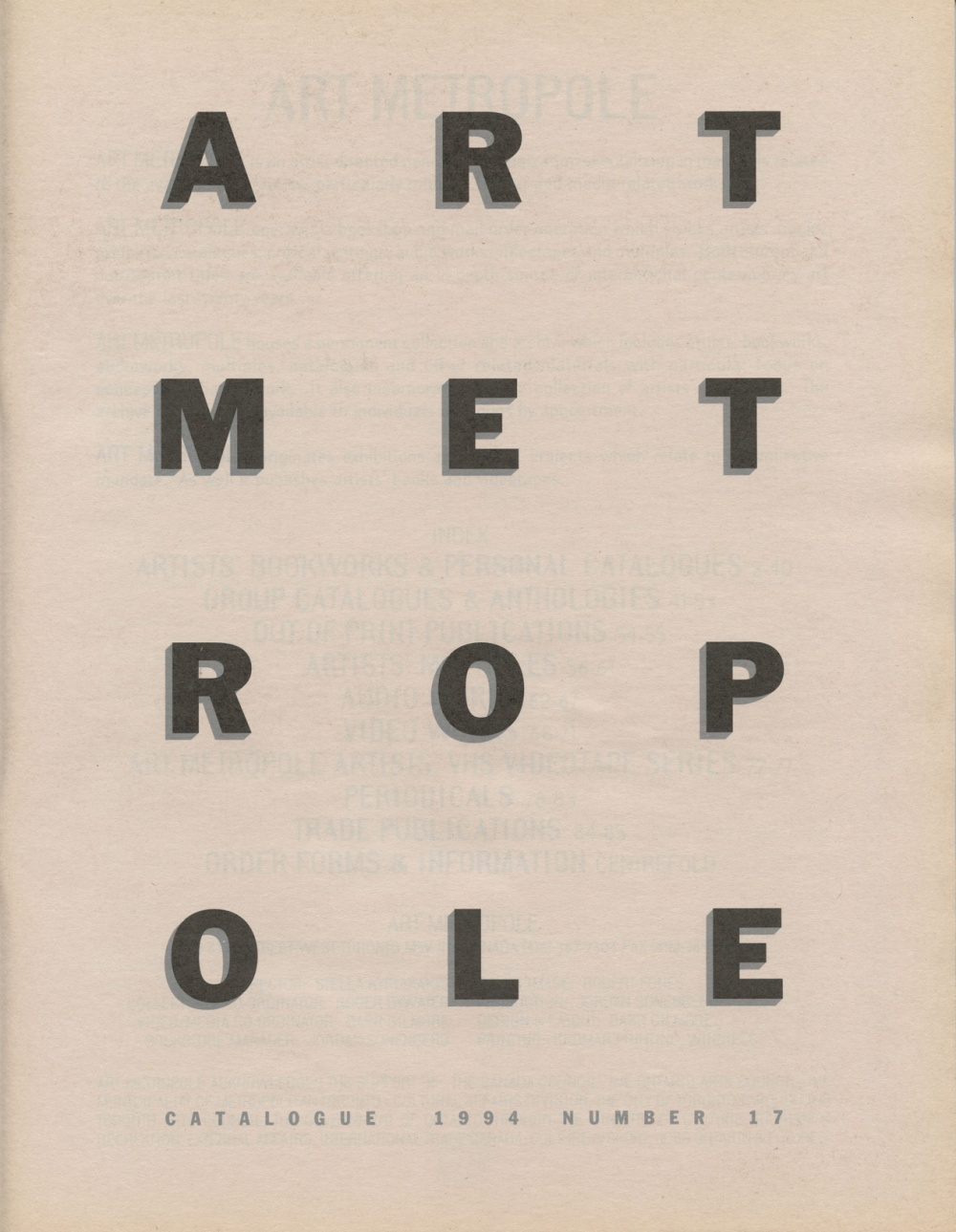 Art Metropole. Catalogue 1994.  Number 17 (front)