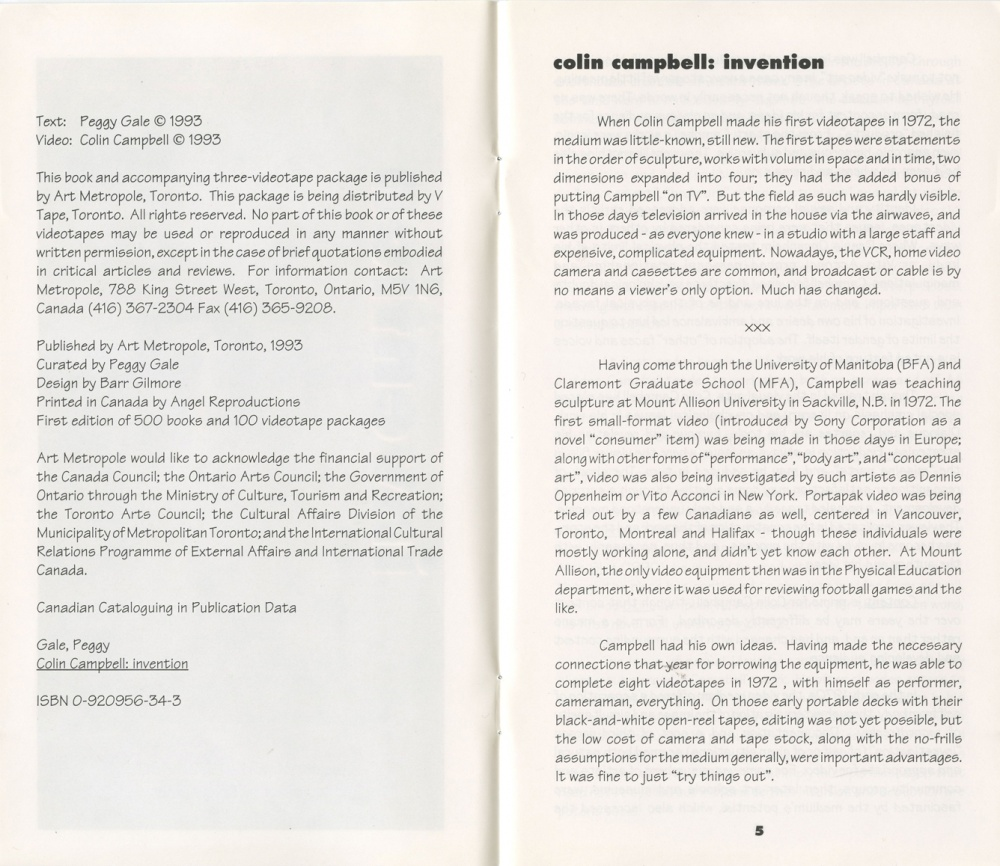 Colin Campbell / Invention: Selected Works 1972-1990 (page 5)