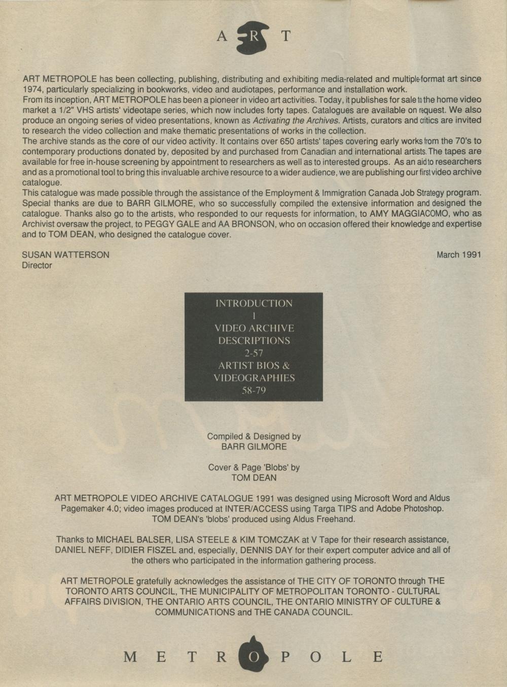 Art Metropole. Video Archive Catalogue