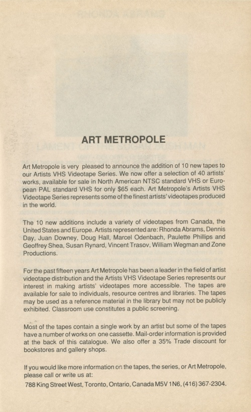 Art Metropole. Artists VHS Videotape Series 1990 Catalogue