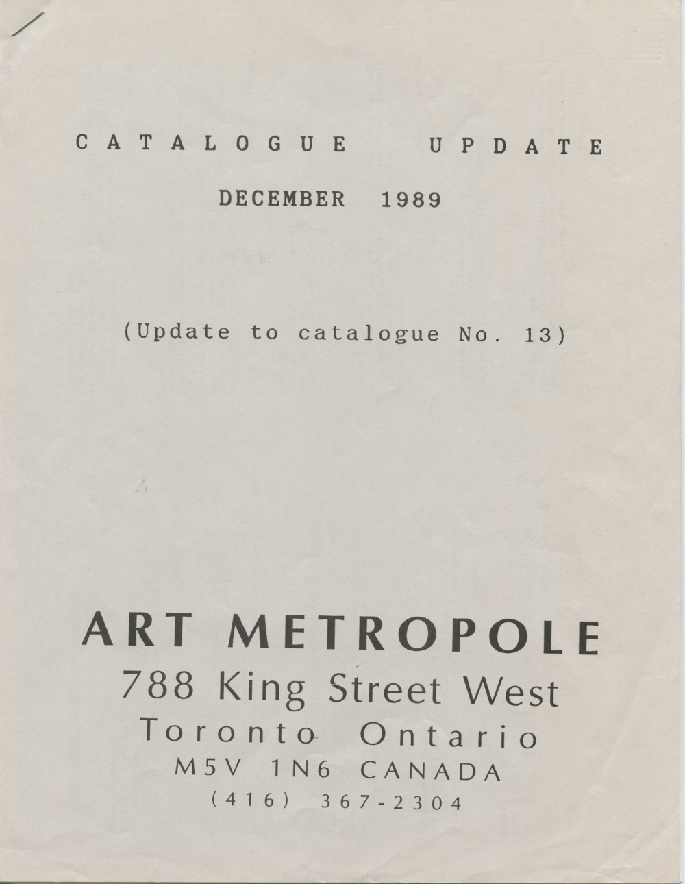 Art Metropole. Catalogue Update: December 1989