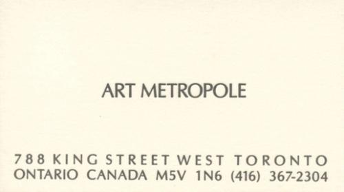 Art Metropole. 788 King Street West Toronto Ontario Canada M5V 1