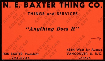 Ingrid Baxter and Iain Baxter: Business Card, 1966: N.E. Thing Co.
