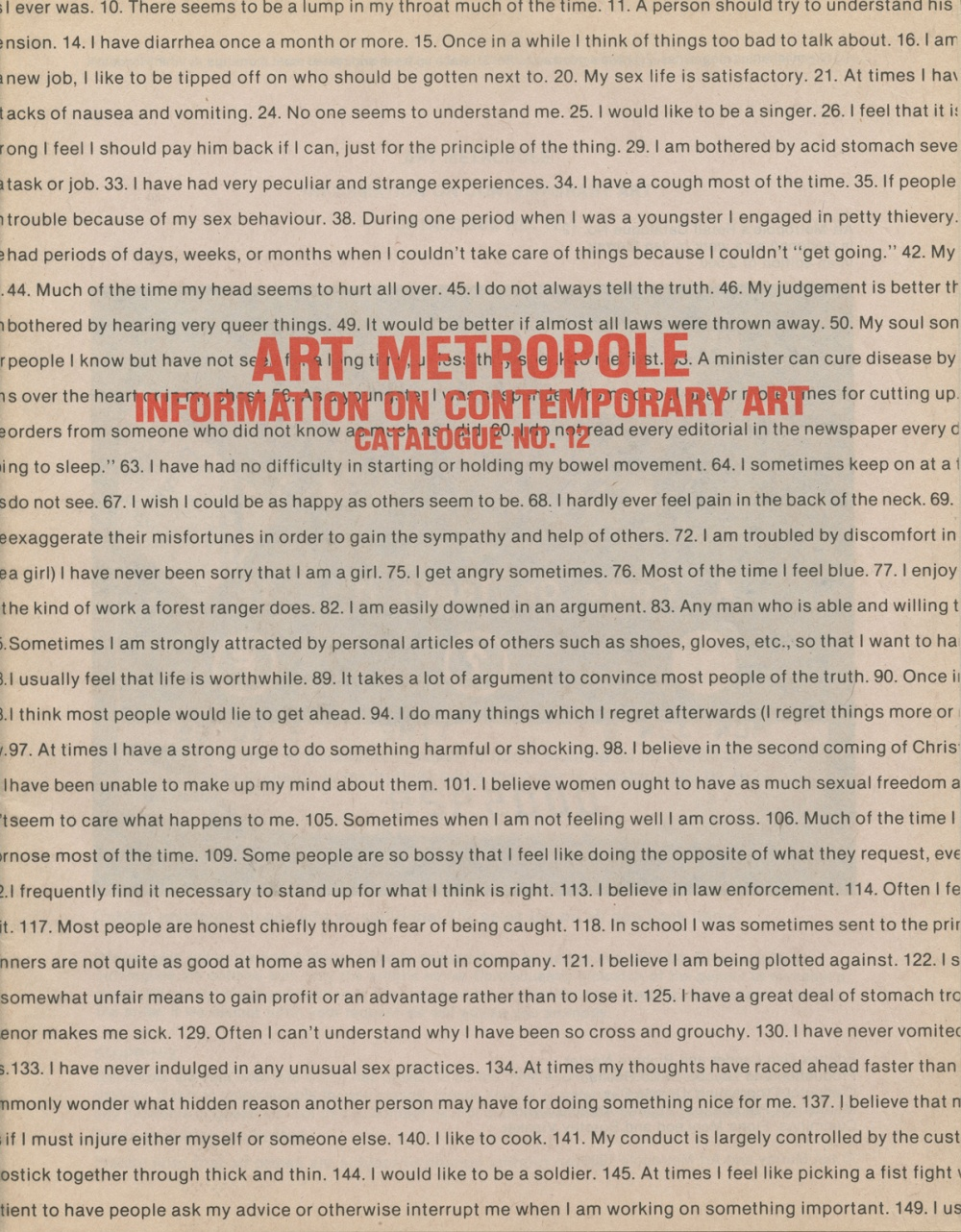 Art Metropole. Information on Contemporary Art. Catalogue No. 12