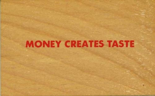 Wooden Postcard: Money Creates Taste