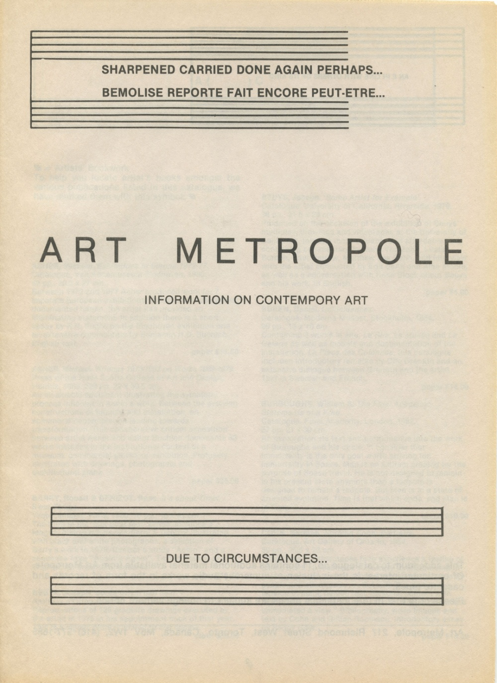 Art Metropole. Information on Contemporary Art. Catalogue No. 11