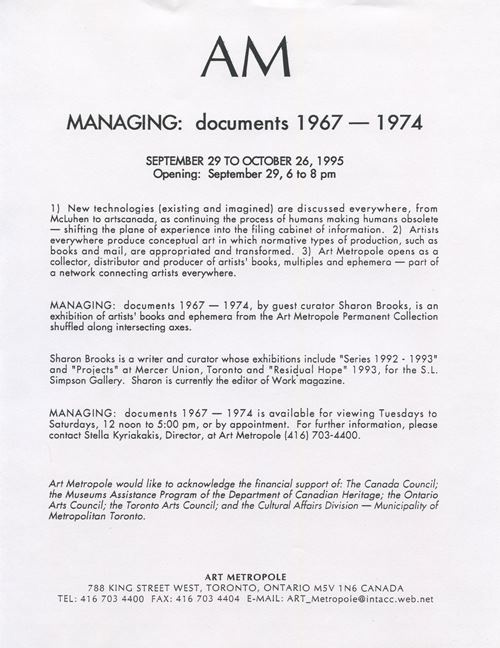 Managing Documents 1967-1974