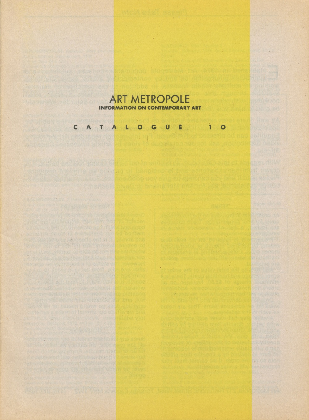 Art Metropol. Information on Contemporary Art. Catalogue No. 1