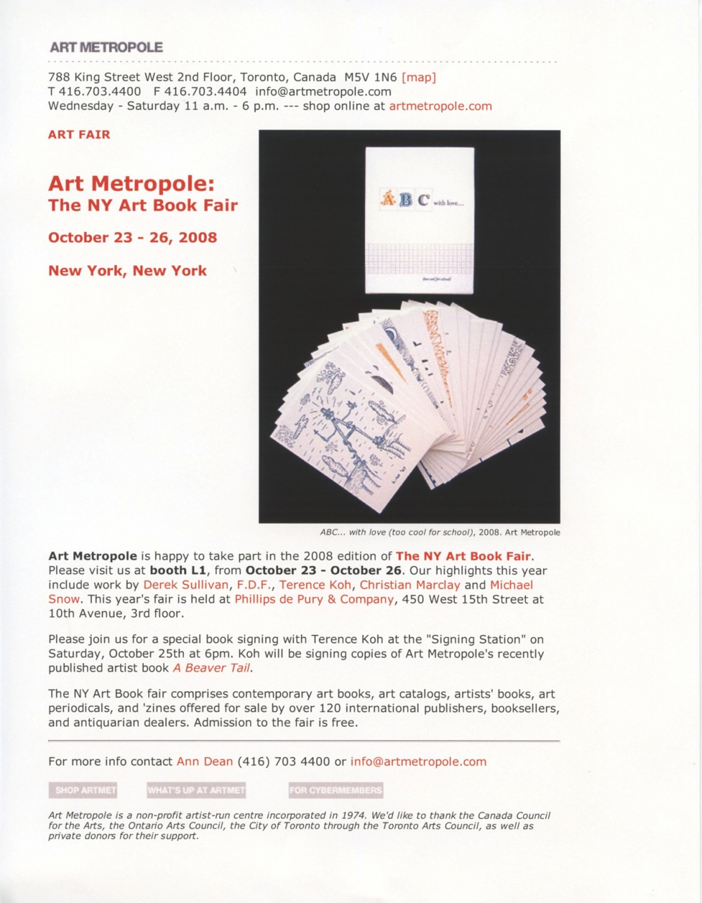 Art Metropole at the NY Art Book Fair.