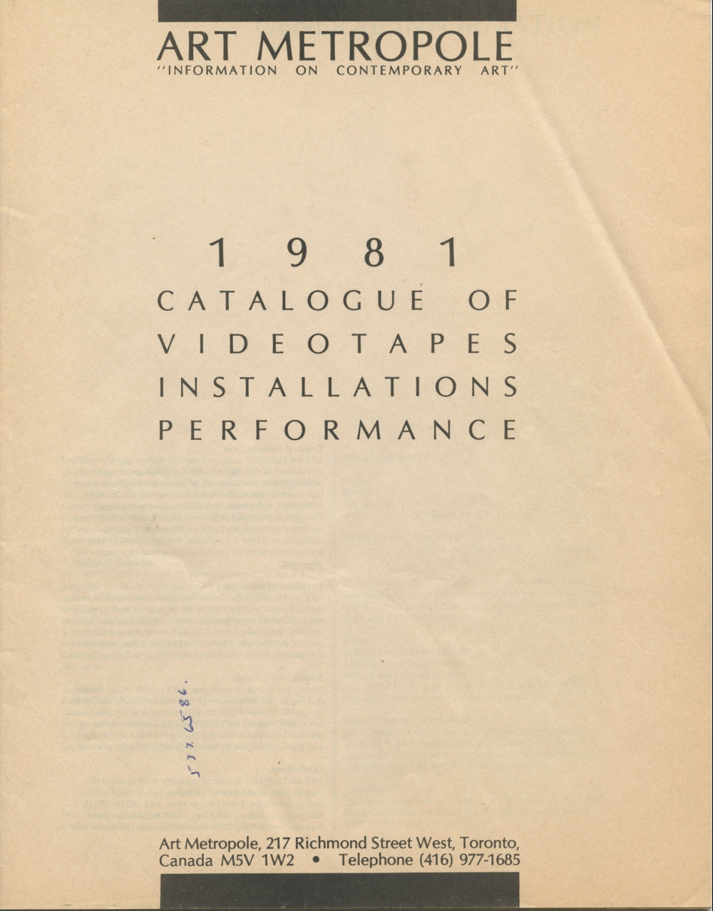 AM. 1981. Catalogue of Videotapes Installations Performances.