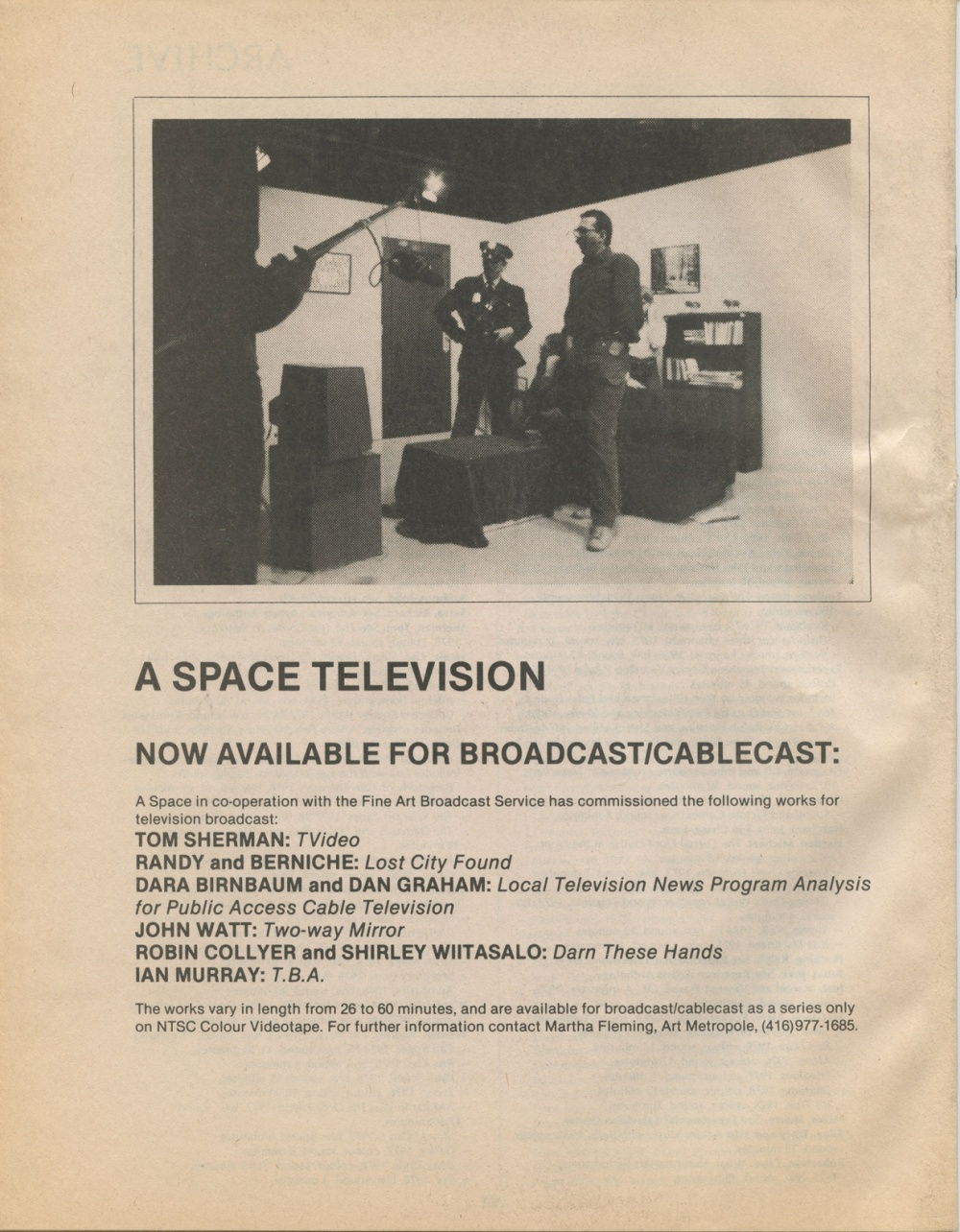 AM. Video Catalogue Summer 1980