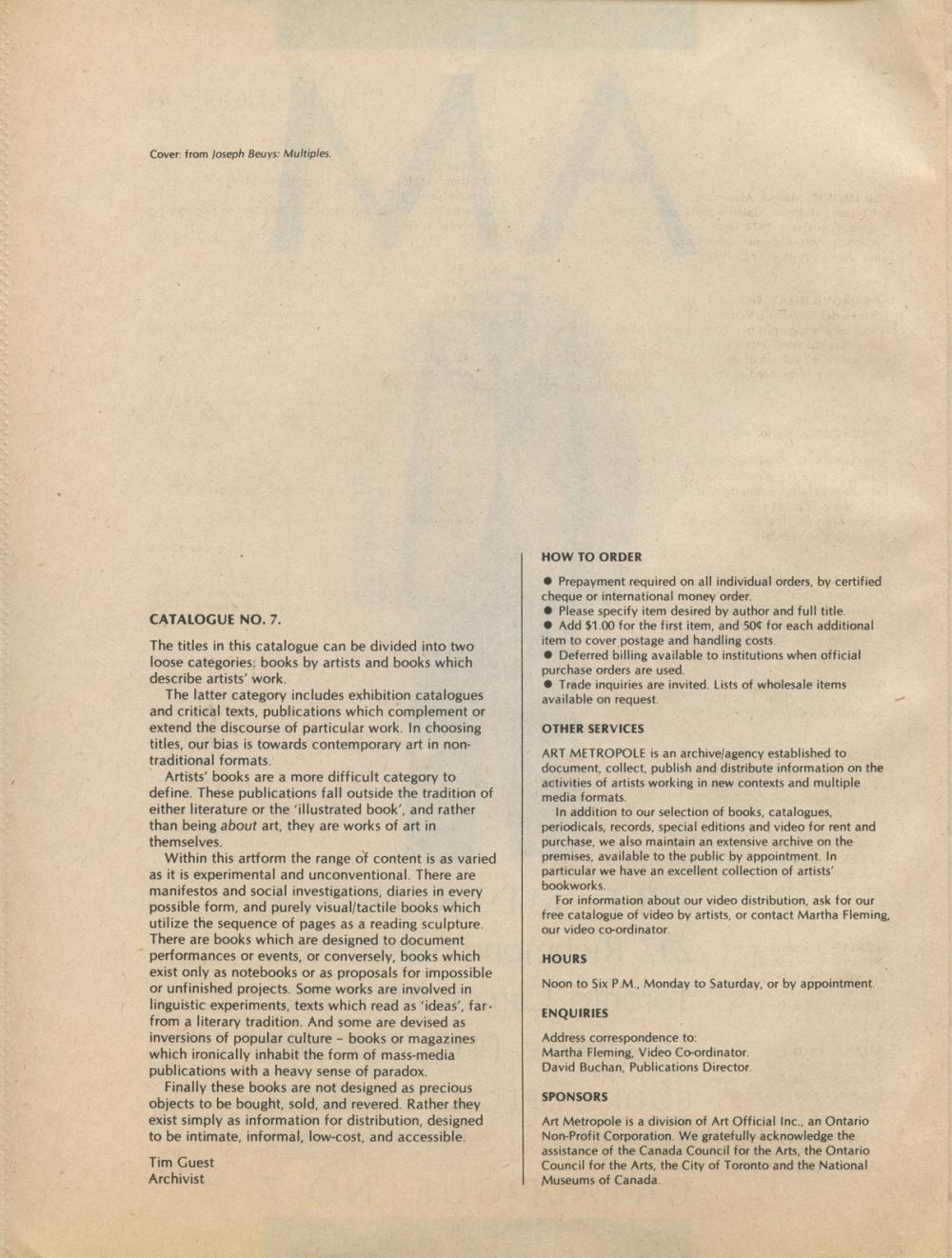 Art Metropole. Books, Special Editions, Records, Periodicals, Ca