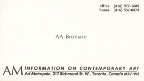 AA Bronson - Archive Privileges. AM Information on Contemporary
