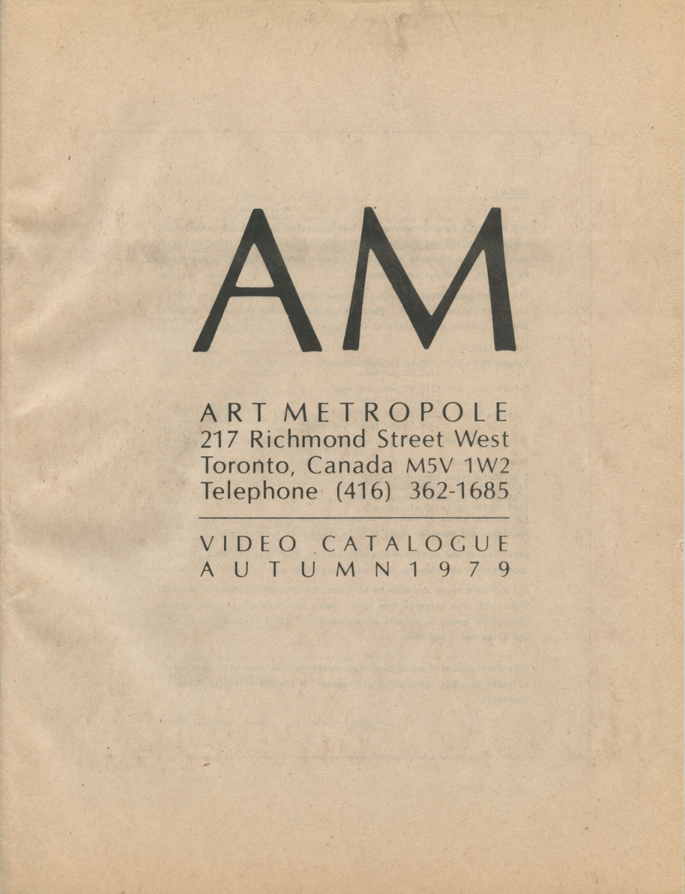 Video Catalogue. Autumn, 1979.