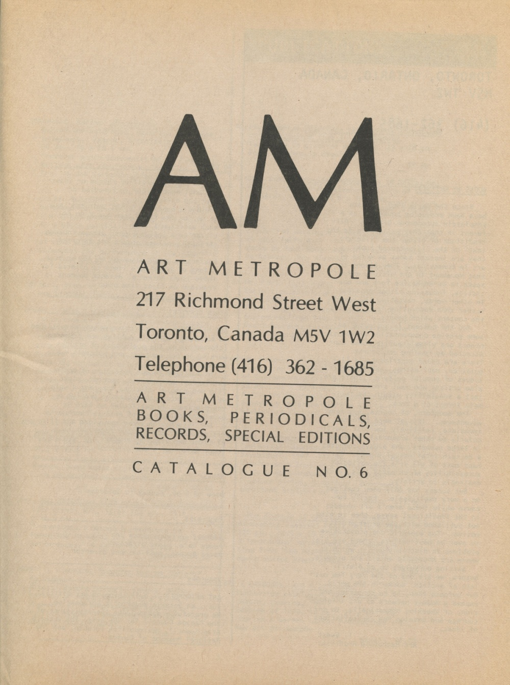AM. Art Metropole Books, Periodicals, Records, Special Editions.