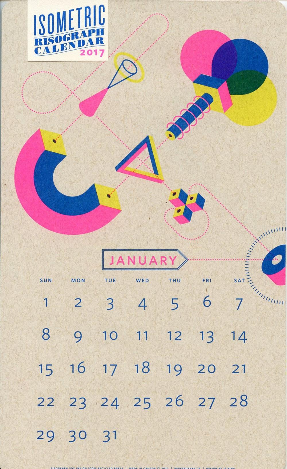 Isometric Risograph Calendar - 2017