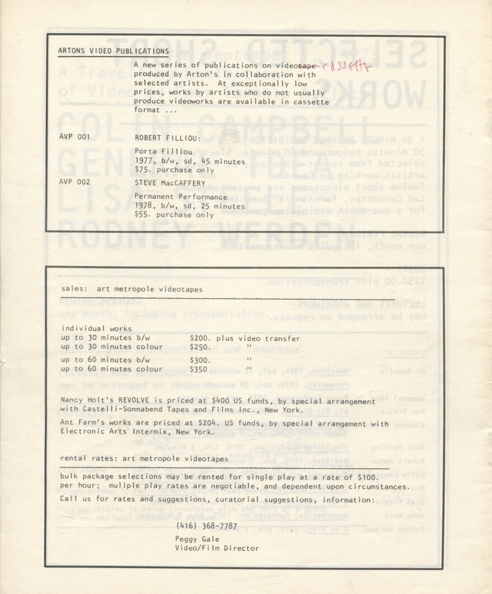 Video by Artists Checklist June 1978. Newsletter.