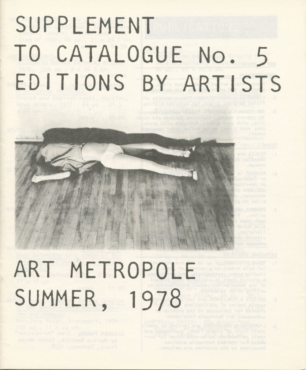 Supplement to Catalogue No. 5. Editions by Artists. Art Metropol