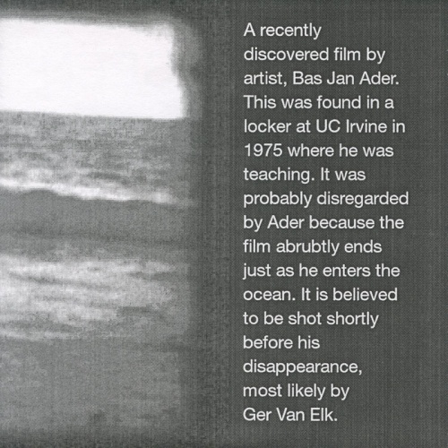 AMP0902 Rarely Seen Bas Jan Ader Film