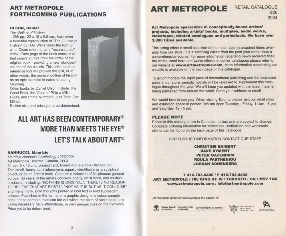 AMP0401 Art Metropole. Retail Catalogue 26. June 2004.