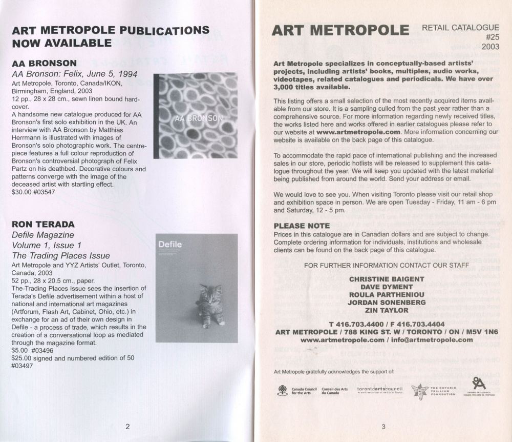 AMP0301 Art Metropole. Retail Catalogue 25. June 2003