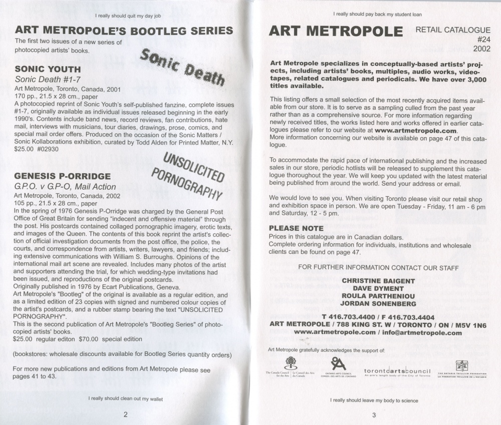 AMP0201 Art Metropole. Catalogue 24