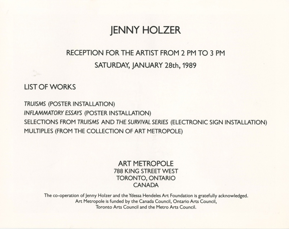 art metropole opening of jenny holzer s truisms and ama8902 front ama8902 back