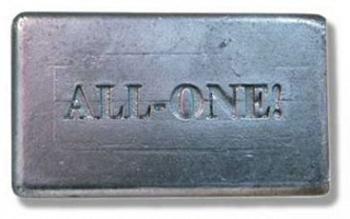 Katie Bethune-Leaman: ALL-ONE!: An Alluminum Bar of Dr. Bronner's Soap (matte version)
