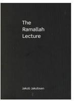 Jakob Jakobsen: The RamallahLecture