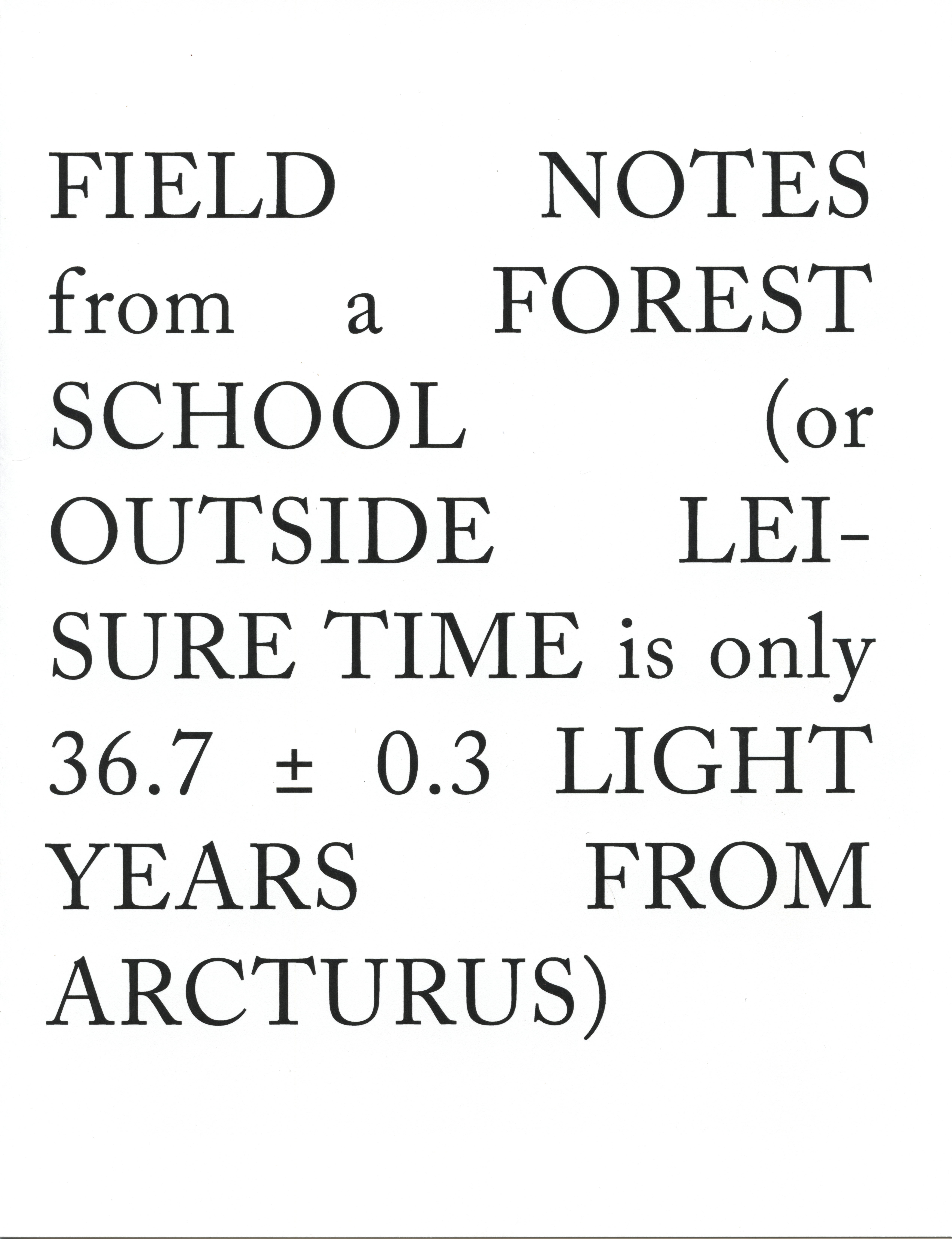 Field Notes from a Forest School