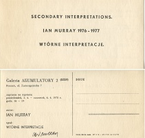 Ian Murray: Secondary Interpretations / Wtórne Interpretacje, mailer for exhibition