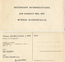 Ian Murray: Secondary Interpretations / Wtórne Interpretacje, mailer forexhibition