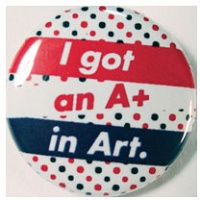 Tonik Wojtyra: I GOT AN A+ IN ART (BUTTON), purple
