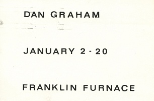 Dan Graham Exhibition at Franklin Furnace, New York, January 2 - 20, 1978, Postcard