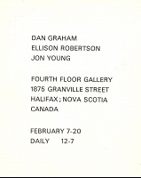 Ellison Robertson, Dan Graham, and Jon Young: Dan Graham, Ellison Robertson, Jon Young Fourth Floor Gallery Postcard