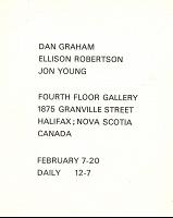 Ellison Robertson, Dan Graham, and Jon Young: Dan Graham, Ellison Robertson, Jon Young Fourth Floor GalleryPostcard